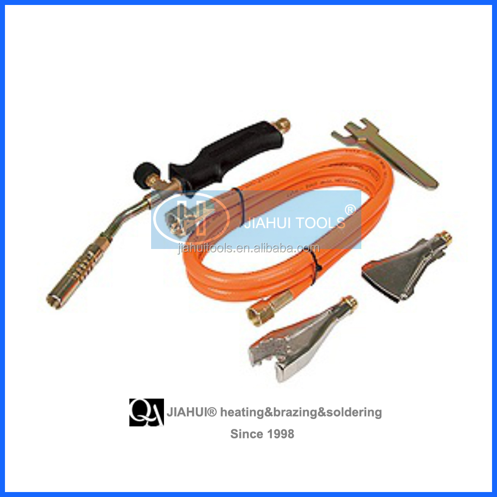 LPG gas heating torch for plumbing with hose and wrench