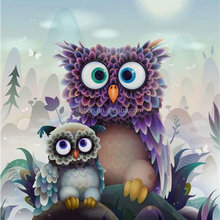 Diy 5D diamond drawing owl round Rhine Diamond Cross Stitch Embroidery mosaic pattern