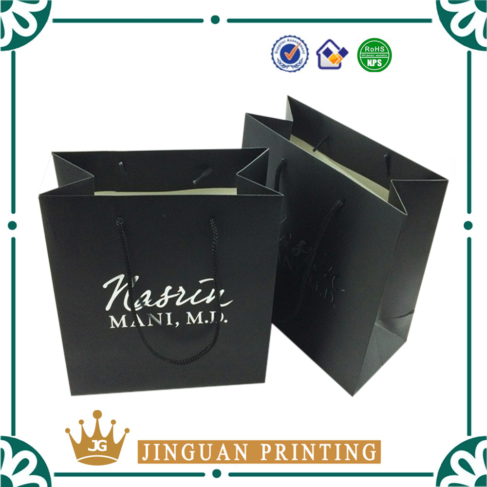 Wholesale custom printing gift paper packaging fashion black bag