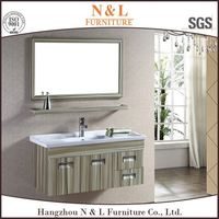 Modular euro style stainless steel bathroom vanity with marble countertop