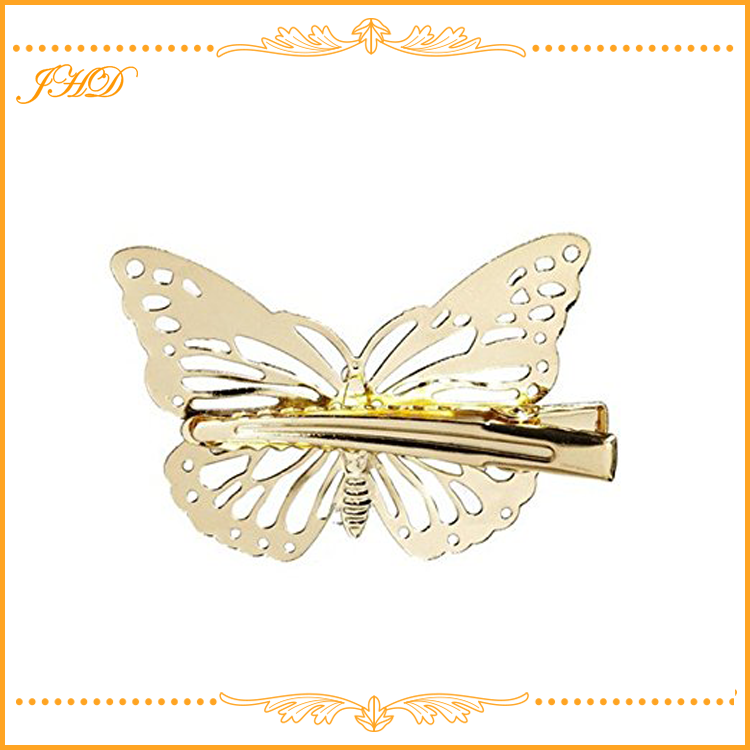 Wedding Princess Gold Metal Butterfly Hair Clip Accessories for Women