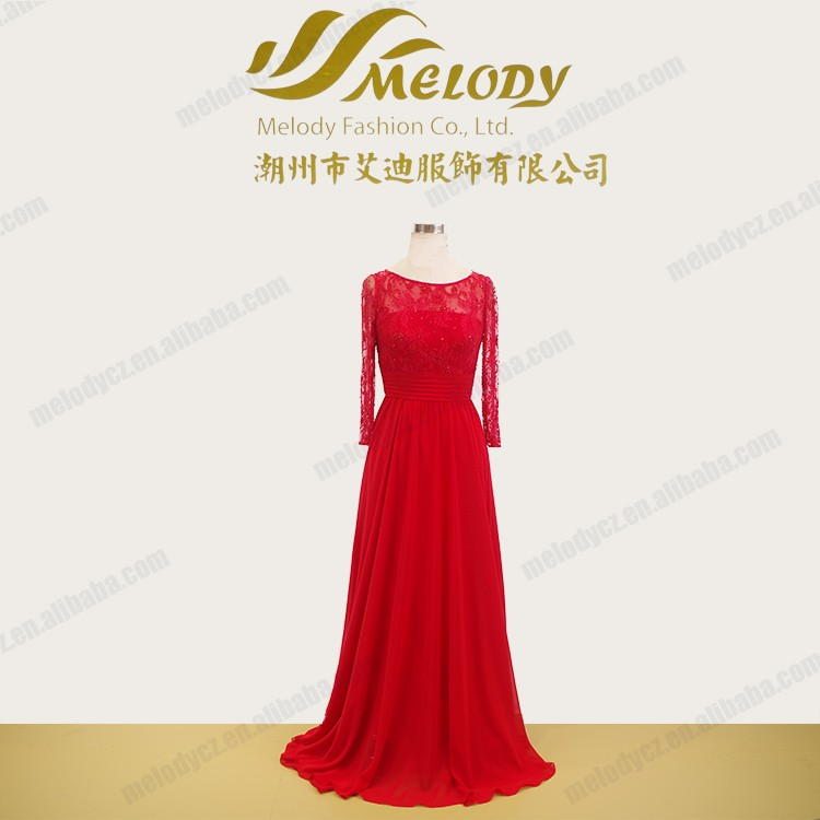 Red sequins floor-length sash long sleeves elegant luxury women evening dress