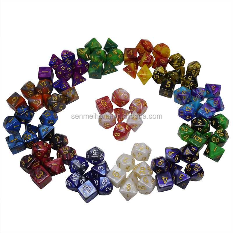 Bulk Wholesale Custom D4 D6 D8 <strong>D10</strong> D12 D20 D% Two-tone Plastic Polyhedral RPG Game Set Dice