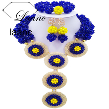 2 Rows Lady Fashion Jewelry Royal Blue and Opaque Yellow Crystal African Beads Nigeria Wedding Gift Jewelry Sets
