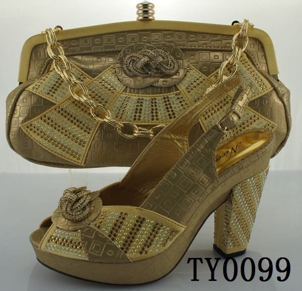 newest fashion design brides italian shoes and bag gold