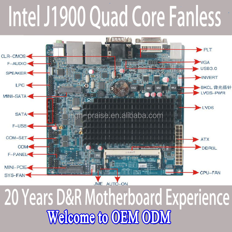 mini itx Intel J1900 Fanless CPU with LVDS Two LAN motherboard