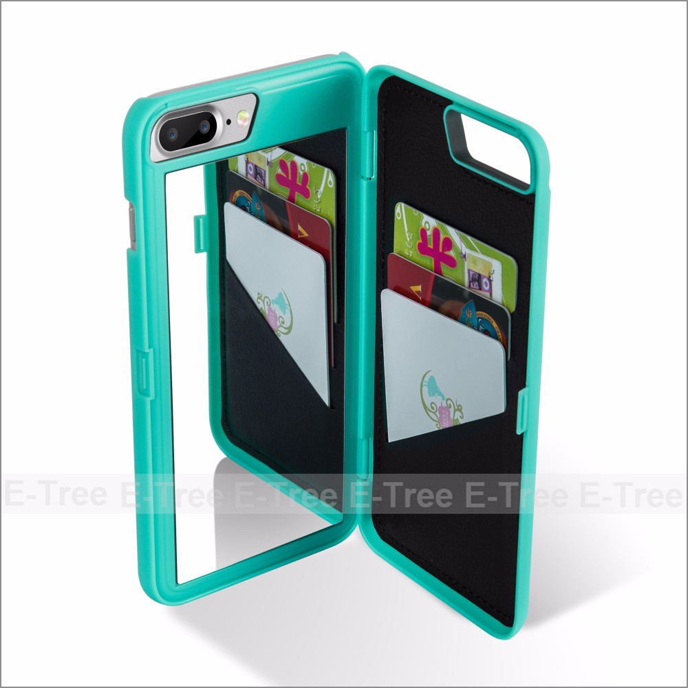 Mirror Wallet Mobile Phone Case Back Cover For iPhone 7 plus