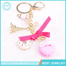 China Keychain Manufacture Kawaii Puff Ball Macaroon Design Keychain
