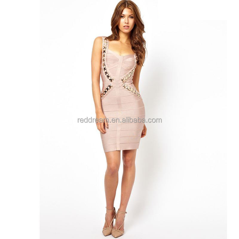 2015 Sexy Lady Hot Apricot Metal V-Neck Party Dress Criss-Cross Strap Celebrity Bandage Dress Good Quality H1095