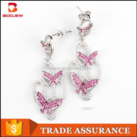 Newest products party dresses zircon jewelry wholesale from china pink butterfly design dangle earrings as photos