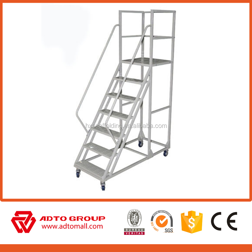 aluminum moving platform ladder,movable aluminum stair,mobile platform ladder