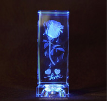 Custom engrave rose LED K9 romantic crystal love <strong>gift</strong>