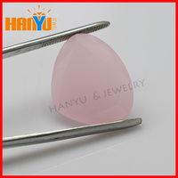 Large size glass gemstones pink Irregular triangle glass cheap jewelry gemstones