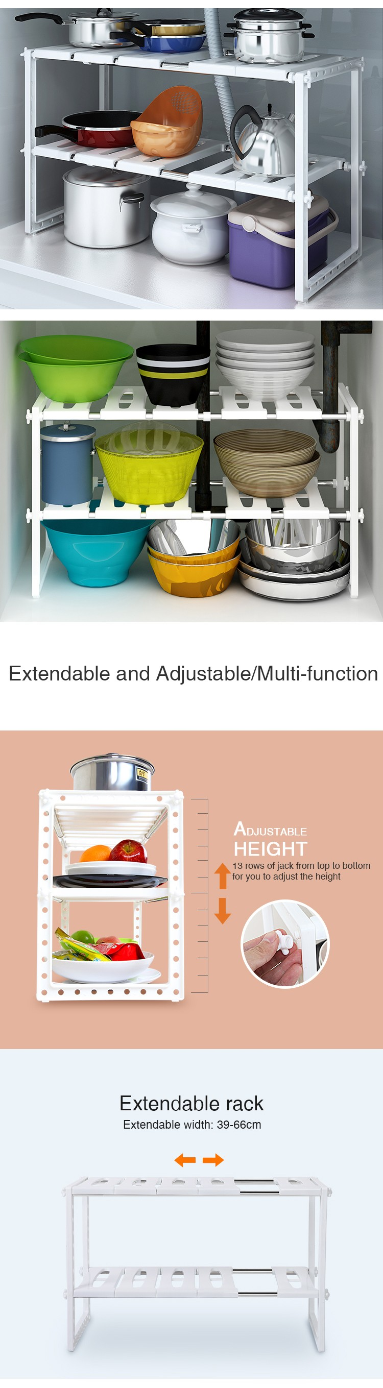 wholesale xm 432e 2 tier under sink organizer shelf rack alibaba