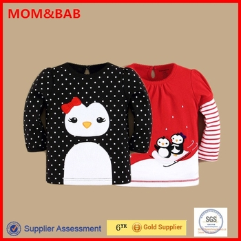mom and bab 2015 Wholesale Long Sleeve Embroideried Cotton Tshirt
