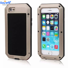 Shockproof full cover Waterproof Aluminum Gorilla Glass Metal Cover case for iphone 6 7 8 PLUS case