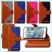 fashion style wallet jean leather case for iphone 6, flip cover mobile phone cover for iphone 6s