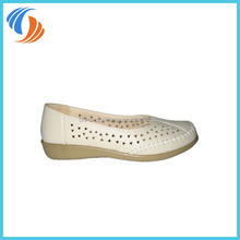 Women White Triangle Small Holes Casual Flats Loafers Shoes PU Leather Shoes