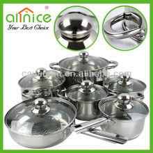 Stainless steel handles Durable cookware set SUS201 high polishing quality cooware