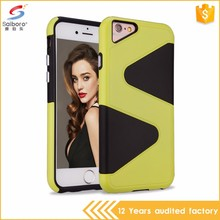 Popular style promotions s shaped tpu pc combo case for iphone 7