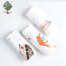 Muslin tree baby 28cm*28cm printed Newborn Baby Face Towel organic cotton with 3pcs/pack