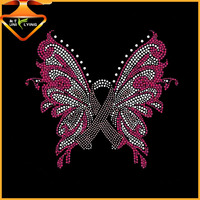 Breast cancer ribbon hotfix butterfly rhinestone iron ons