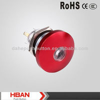 CE ROHS 12 volt illuminated Red Mushroom push button