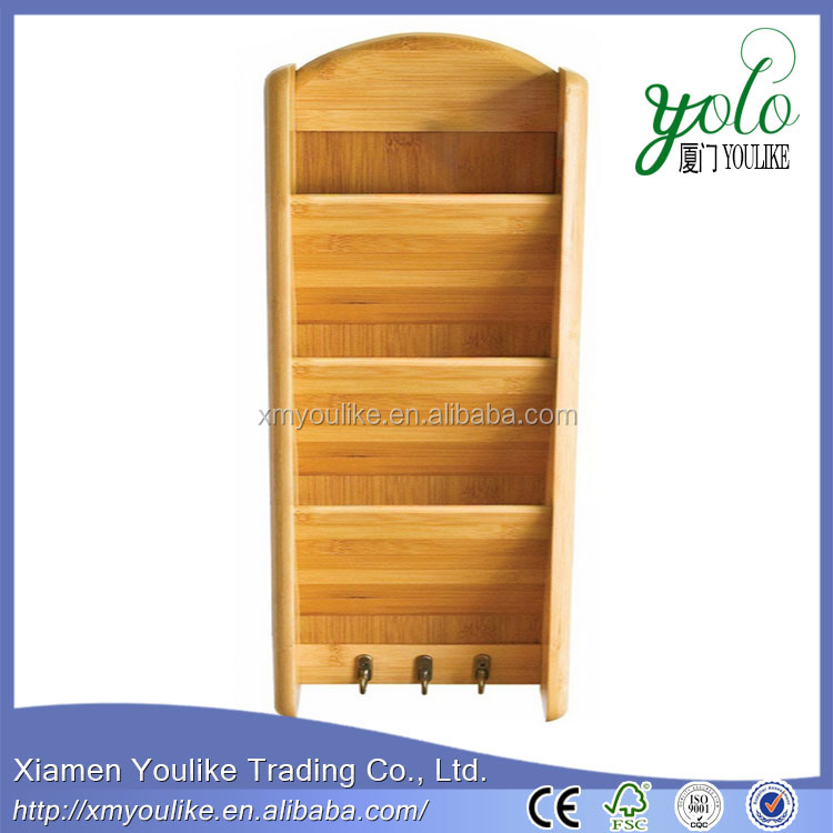 Letter Mail Organizer Storage Lipper Bamboo 3 Tier Vertical Wall Rack Holder