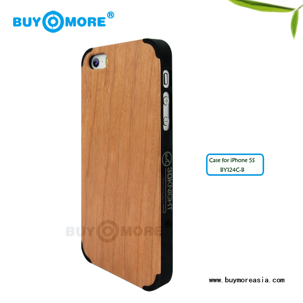 ecofriendly high quality cherry wood clear hard cover case for iphone 5s