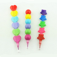 stacking crayon 5 colors star shaped stacker crayon without printing