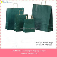 Fashional kraft paper bag with printing christmas Durablel tote shopping bag 200gsm kraft paper shopping bag