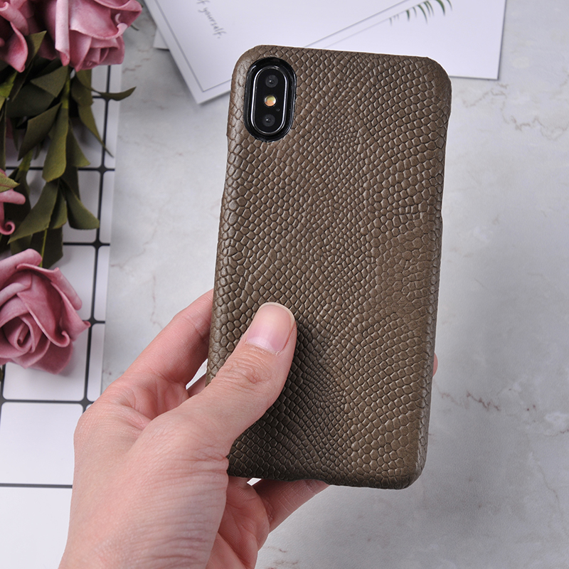 Custom luxury snake python grain genuine leather mobile phone case for iphone X
