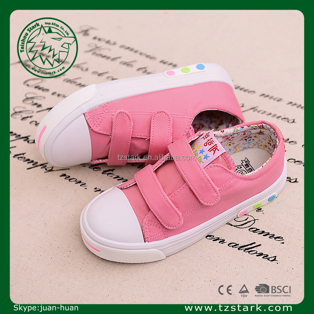 pink wholesale sweet kids cloth shoe Fashion latest girls canvas shoes