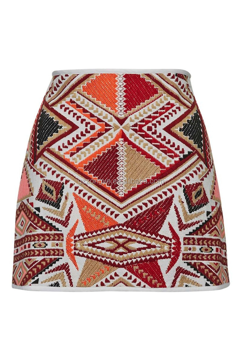 Folk-custom style jacquard pattern shorts skirts ladies