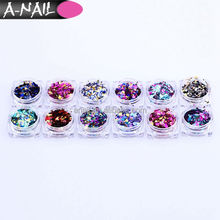 NEW Shining Holographic 3D Nail Art Decorations Sequins Round Shape Nail Glitter Powder for DIY Beauty Nail