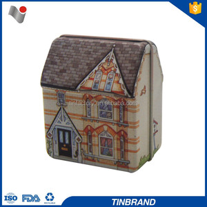Hinged lid house shaped miniature tin boxes