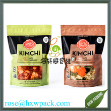 Matte finish clear window printed mylar food seasoning powder spice kimchi packing pouches with UV finish