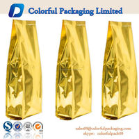 Quad-Seal Gusseted Laminated Gold Foil Bags With Valve For Coffee