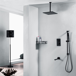 HIDEEP Bathroom shower faucet set three function thermostatic black shower mixer with sliding bar