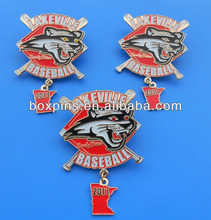 soft enamel metal baseball pin badge with dangler