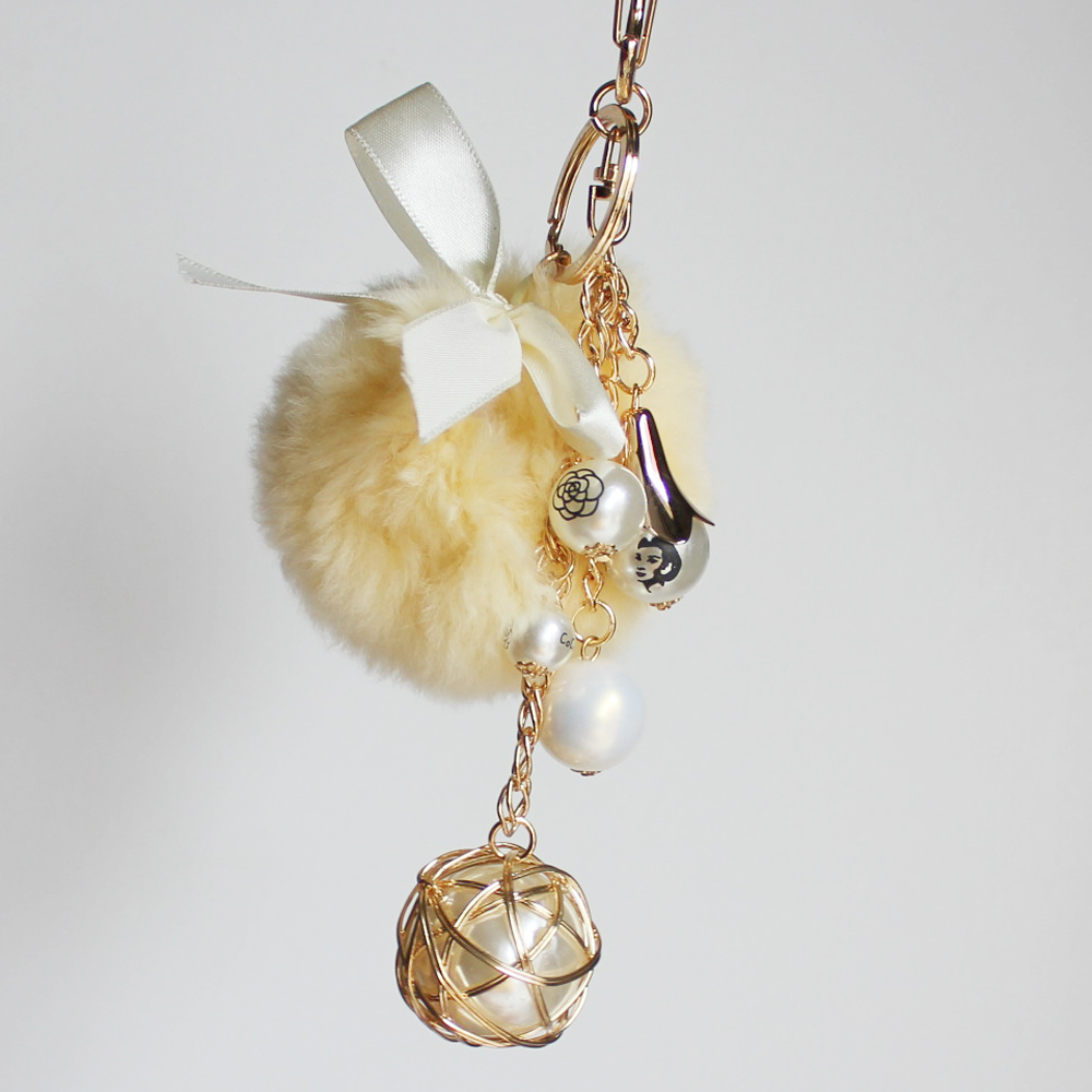 200mm Alloy metal pearl beads rabbit fur yoyo key chain