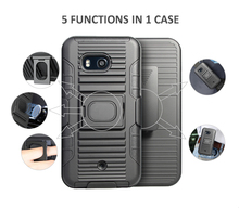 High quality 3 in 1 Ring Armor Cell Phone case with kickstand and Swivel belt clip for HTC U11