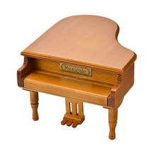 piano shape wooden music box with wind up mechanical musical movement hundreds of tunes for option