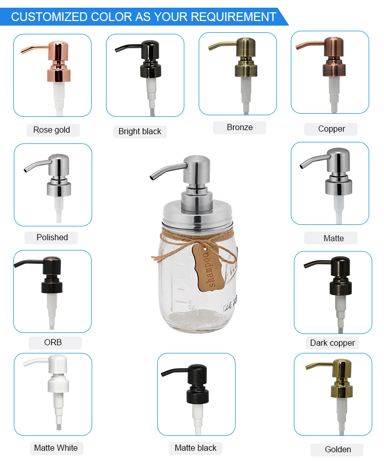 AAA Qualified China Manufacturer Chrome Hand Liquid Soap Dispenser Pump with Glass Bottle