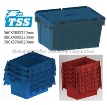 50L Food Container Plastic Tote Box with Hinged Lids 600X400X320mm Model no. TBX6040
