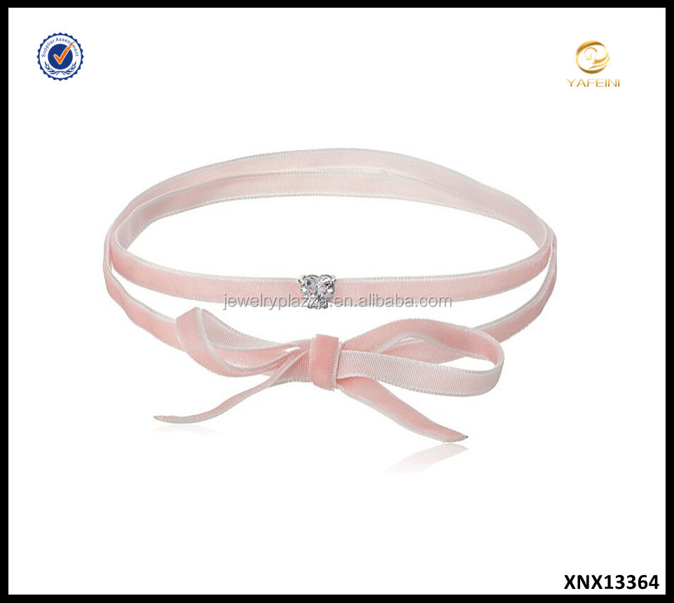 Sterling Silver Pink Cord Choker with Cubic Zirconia Heart Pendant Choker Necklace