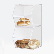 Custom Stackable Clear Acrylic Perspex Food Candy Bin with hinged lid