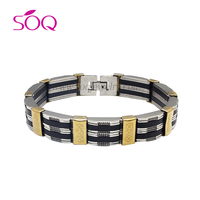 SSB16012603 2016 Cheap Designs Stainless Steel Vintage Men's Rubber Bracelet Jewelry
