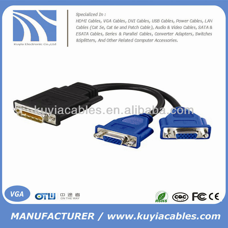 DMS-59 to dual VGA adapter cable video Y splitter