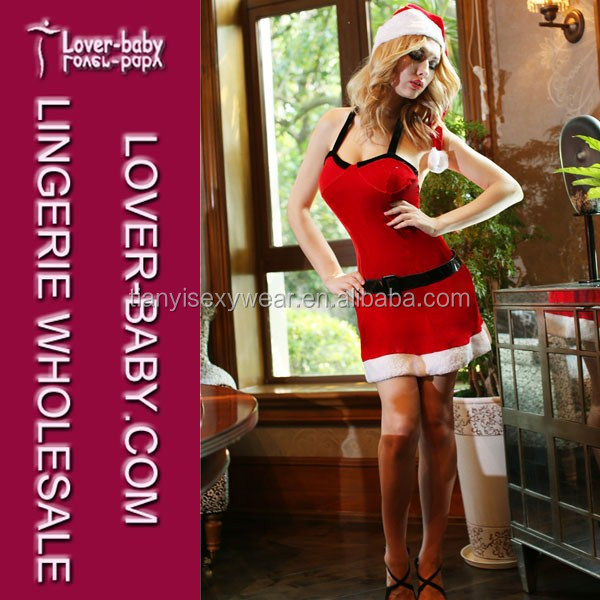 Alluring Velvet Red Black Western Clause Party Dance Santarina Christmas Eve Costume